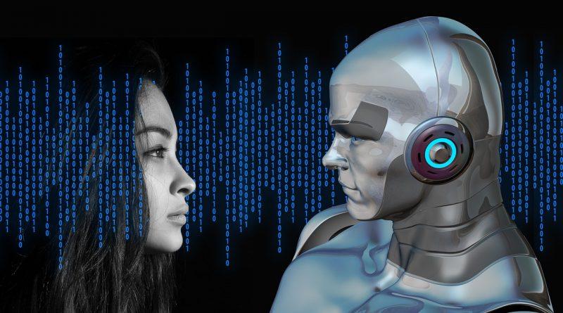 Bild mit Mensch und Cyborg