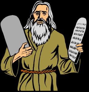 Berühmter Bibel-Mann mit Steintafeln